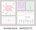 cute cards for girls. can be... | Shutterstock .eps vector #664222171