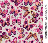 seamless pattern with... | Shutterstock .eps vector #664222471