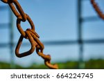 old rusty chain of a wagon in... | Shutterstock . vector #664224745