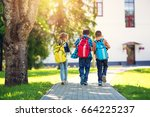 children with rucksacks... | Shutterstock . vector #664225237