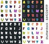 full cartoon alphabet . vector... | Shutterstock .eps vector #664226959