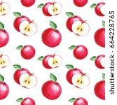 watercolor hand drawing apple... | Shutterstock . vector #664228765