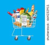 shopping cart full of groceries ... | Shutterstock .eps vector #664232911