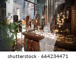 jewelry in window case at... | Shutterstock . vector #664234471
