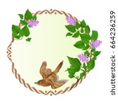 floral round  frame with purple ... | Shutterstock .eps vector #664236259