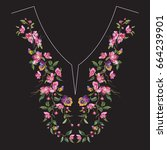 embroidery neck line floral... | Shutterstock .eps vector #664239901