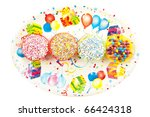 four sweet cup  cakes on a...   Shutterstock . vector #66424318