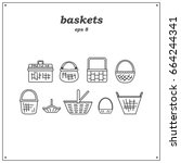 collection of various baskets.... | Shutterstock .eps vector #664244341
