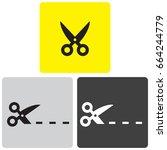 scissors icons   Shutterstock .eps vector #664244779