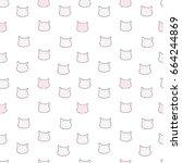 cat pattern seamless pattern... | Shutterstock .eps vector #664244869