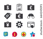 businessman case icons. cash...