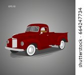 old retro pickup truck vector... | Shutterstock .eps vector #664247734