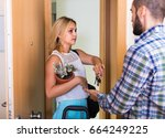 unhappy young couple separating ... | Shutterstock . vector #664249225