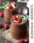 chocolate pudding with chia... | Shutterstock . vector #664250371