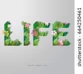 paper art. 3d vector... | Shutterstock .eps vector #664250461