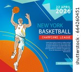 basketball flyer   poster cover ... | Shutterstock .eps vector #664260451