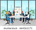 arab muslim business people... | Shutterstock .eps vector #664261171
