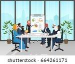 arab muslim business people... | Shutterstock .eps vector #664261171