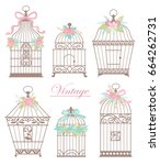set with vintage bird cages... | Shutterstock .eps vector #664262731