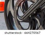 a front wheel of a custom built ... | Shutterstock . vector #664270567