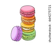 stack of colorful macaron ... | Shutterstock .eps vector #664275721