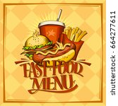 fast food menu design list with ... | Shutterstock .eps vector #664277611