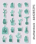 hand drawn green cactus and... | Shutterstock .eps vector #664285291