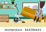 domestic robot cleaning the... | Shutterstock .eps vector #664286641