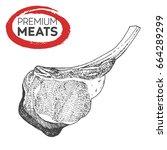 meat hand drawn vector... | Shutterstock .eps vector #664289299