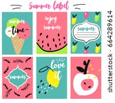 summer labels set | Shutterstock .eps vector #664289614