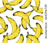 banana seamless pattern. fun... | Shutterstock .eps vector #664296739