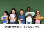 group of school kids reading... | Shutterstock . vector #664298791