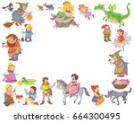 set of cute fairy tale... | Shutterstock . vector #664300495