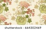 seamless floral pattern. green... | Shutterstock .eps vector #664302469