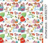 christmas wallpaper. cute santa ...   Shutterstock . vector #664302757