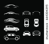 outlined car icons | Shutterstock .eps vector #664304395