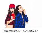 young hipster girls having fun... | Shutterstock . vector #664305757