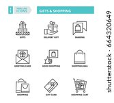 line icons about gifts and... | Shutterstock .eps vector #664320649