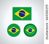 flag design. brazilian flag set.... | Shutterstock .eps vector #664330195