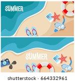 summer beach top view vector...   Shutterstock .eps vector #664332961