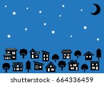row of a simple house and tree  ... | Shutterstock .eps vector #664336459