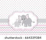 Stock vector vector card template with cute elephants on polka dot and chevron background card template for 664339384