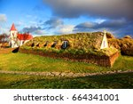 traditional turf house in... | Shutterstock . vector #664341001