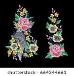grey bird and peonies flowers... | Shutterstock .eps vector #664344661