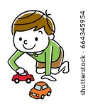 child plays with a toy car | Shutterstock .eps vector #664345954