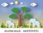 paper origami concept  applique ... | Shutterstock .eps vector #664354351