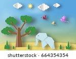 paper origami concept  applique ... | Shutterstock .eps vector #664354354