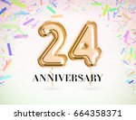 24 anniversary celebration with ... | Shutterstock . vector #664358371