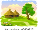 african tribal huts and tree | Shutterstock .eps vector #66436213