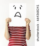 Small photo of Illustration of awful sadness face on banner